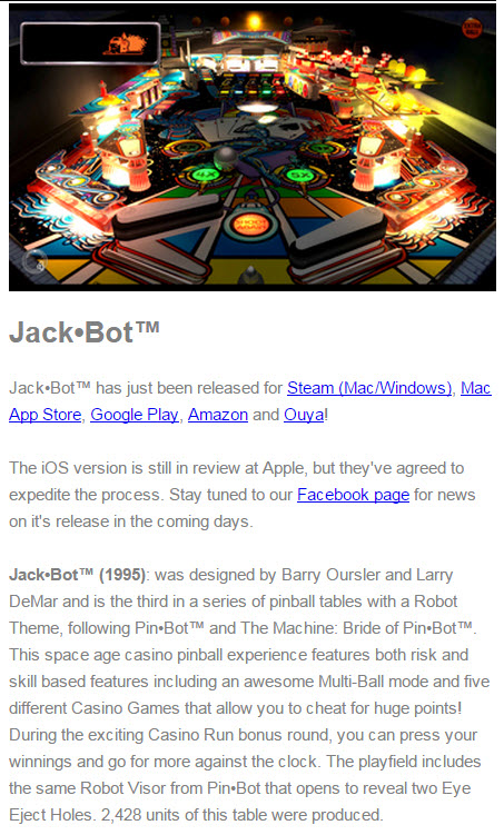 Jack•Bot Pinball Arcade™ has just been released for Steam